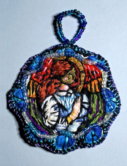 Angel with brown hair medallion