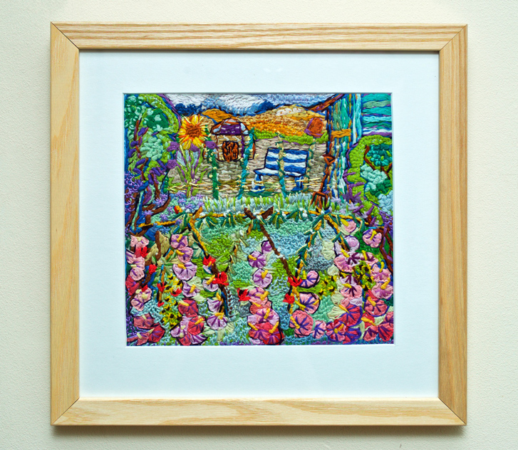 Down on the allotment framed embroidery