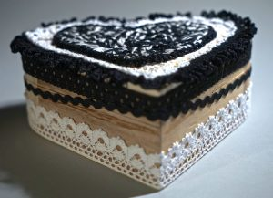 Large black and white wooden heart box