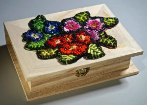 Large wooden box with pansy design