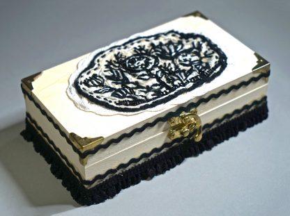 Rectangular black and white wooden box