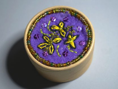 Small purple felted wooden box