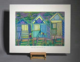 Three bright beach huts Wells-next-the-Sea sketch