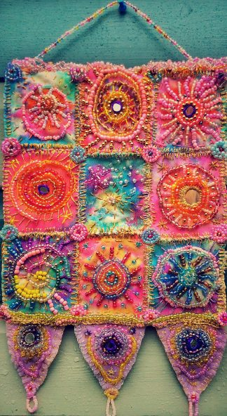 Cosmic wall hanging in pink